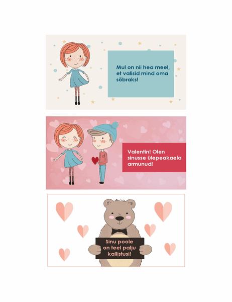 Sõbrapäevakaardid lastele (12 kujundust, 3 tk lehel)