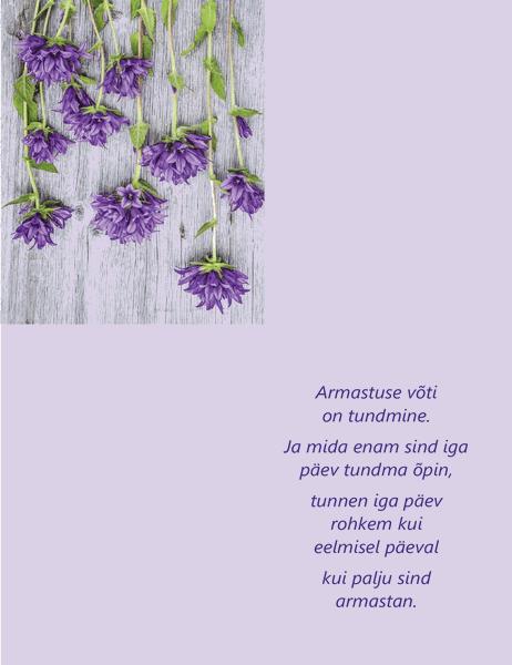 Luuletusega sõbrapäeva kaart (neljaks volditav)