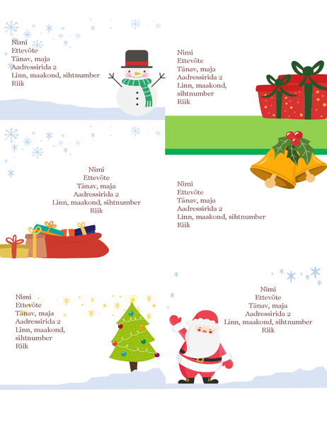 Pühadepakkide aadressisildid (jõulukujundus, kuus silti lehel, sobib paber Avery 5164)