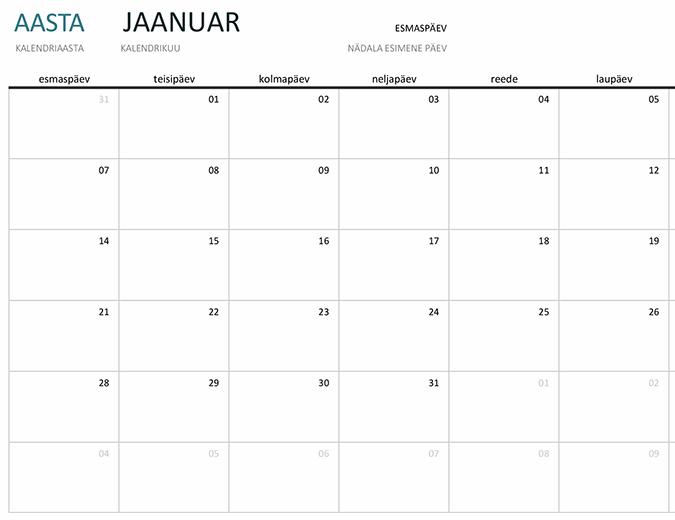 Aastast sõltumatu ühe kuu kalender