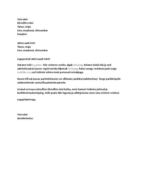Kandidaadi töövestluse kinnituskiri