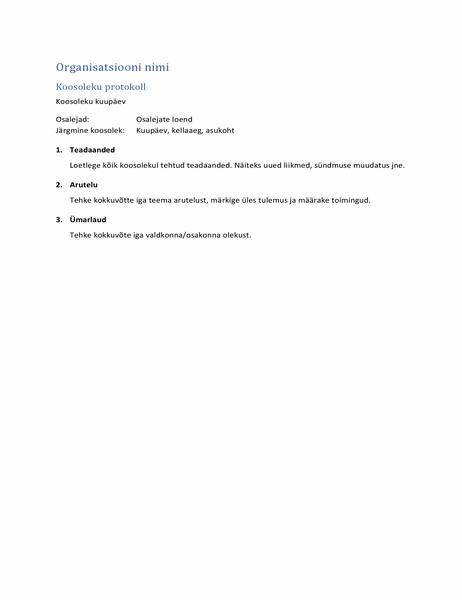 Koosoleku protokoll (lühike versioon)