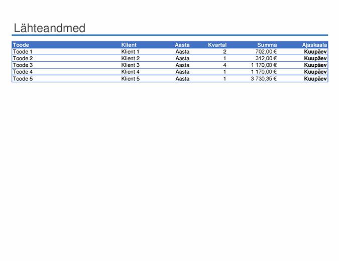 PivotTable-liigendtabeli aruande näidis