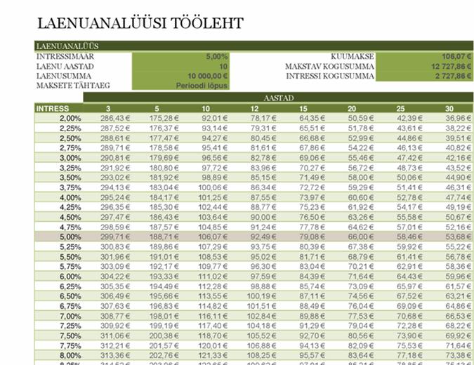 Laenuanalüüsi tööleht