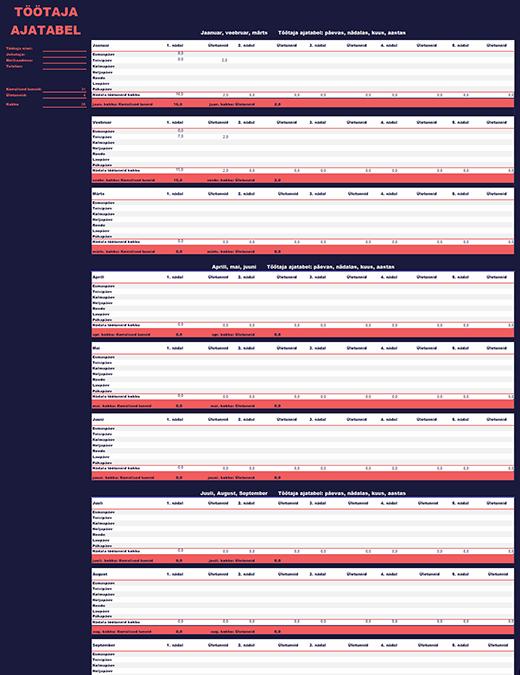 Töötaja ajatabel (nädala, kuu ja aasta kohta)