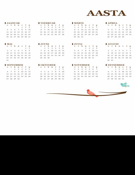 Lindudega aastakalender (E–P)