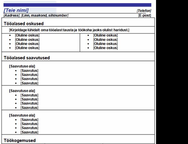 Funktsionaalne CV (sinise joonega kujundus)