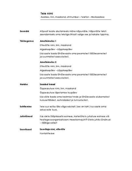 Kronoloogiline elulookirjeldus (minimalistlik kujundus)