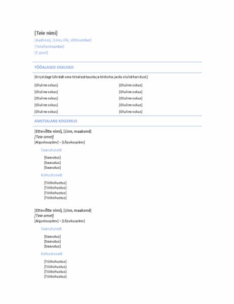 Kronoloogiline CV (sinise joonega kujundus)