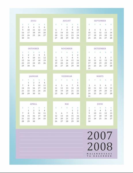 Majandusaasta kalender 2007–2008 (E–R)