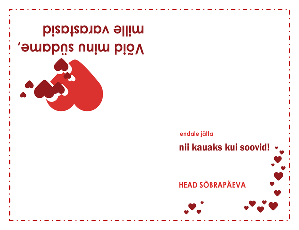 Sõbrapäeva kaart (südamega, neljaks volditav)