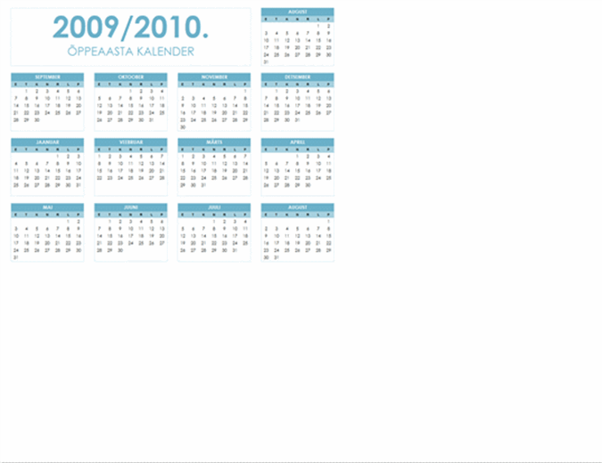 Kooliaasta kalender 2009-2010 (1 lk, horisontaalpaigutus, E-P)