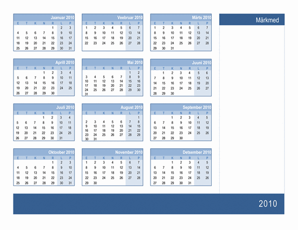 Kalender 2010, märkmeruumiga (1 lk, E–P)