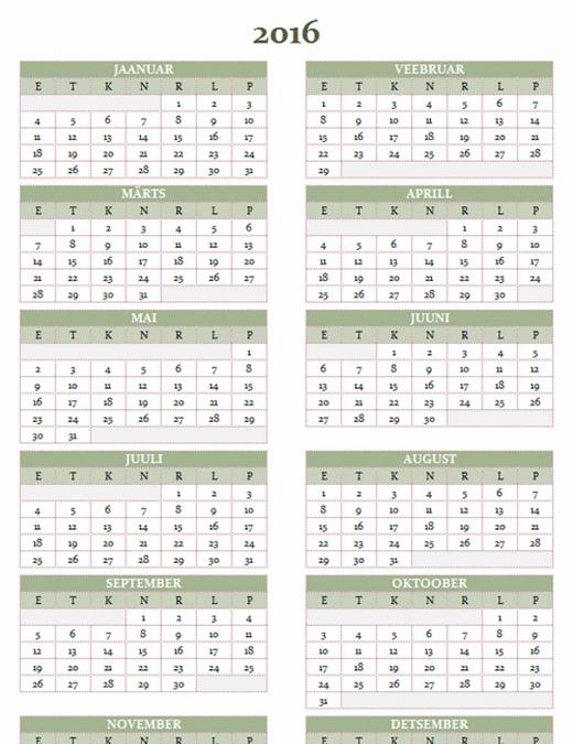 Aastakalender 2016–2025 (E–P)