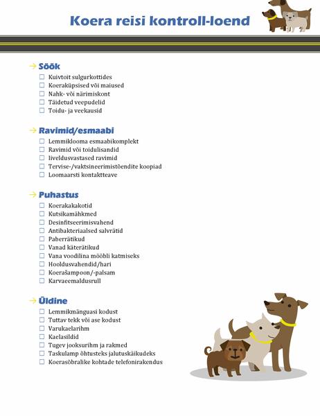 Koeraga reisimise kontroll-loend