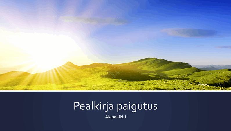 Sinise ribaga loodusteemaline esitlus, foto päikesetõusust mägedes (laiekraan)