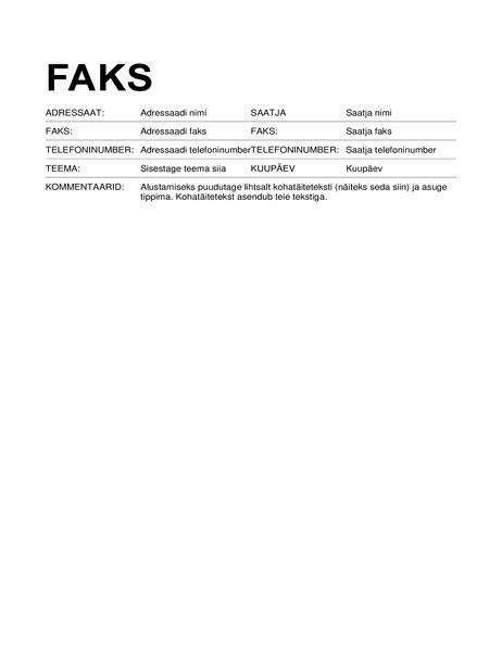 Faksi tiitelleht (standardne vorming)