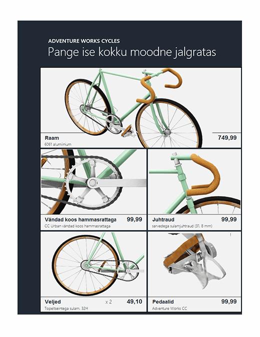 Exceli ruumiline tootekataloog (jalgrattamudel)