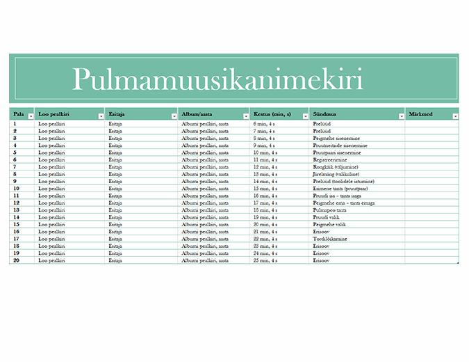 Pulmamuusika nimekiri