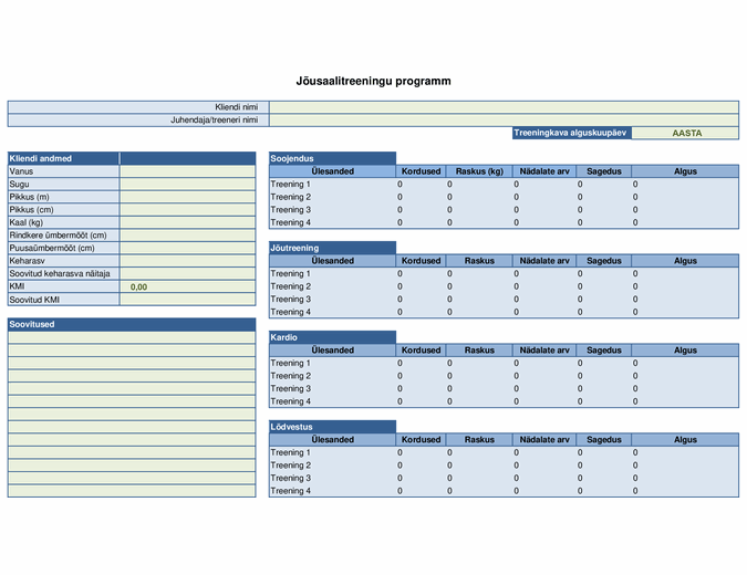 Treeningkava koostamine