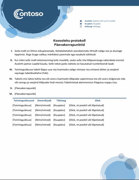 Koosoleku protokoll Sinised kerad