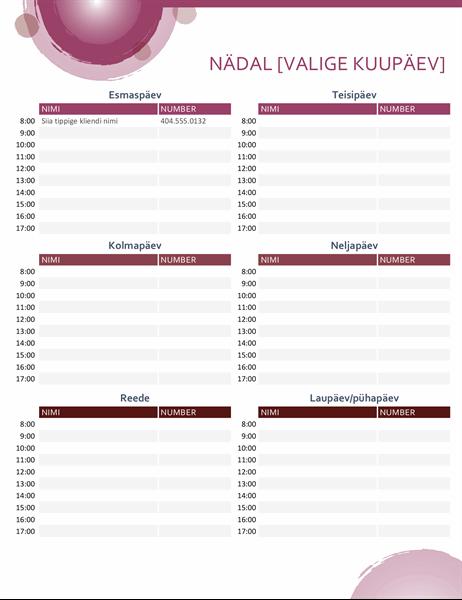 Roosa komplekti päevakohtumiste kalender