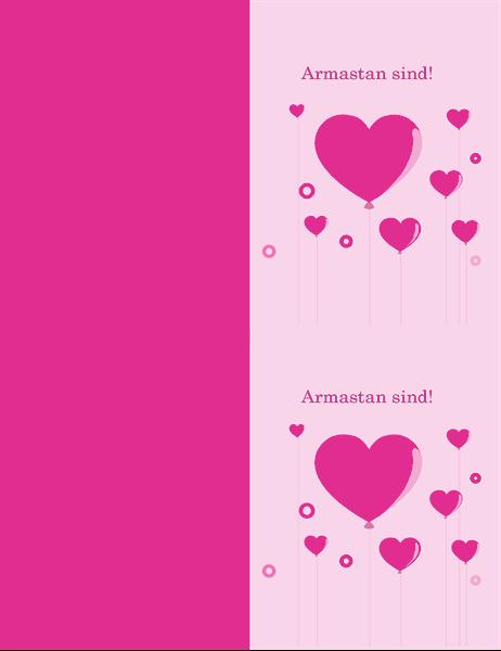 Südamekujuliste õhupallidega valentinipäeva kaart