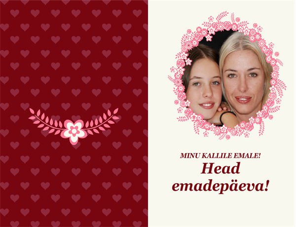 Lilledega äärisega emadepäeva kaart