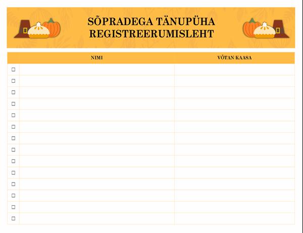 Sõpradega tänupüha registreerumisleht