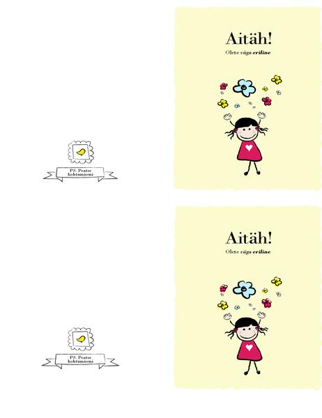 Väikese tüdrukuga tänukaart