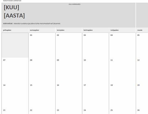 Kodutööde kalender