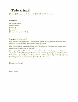 Elulookirjelduse kaaskiri (roheline)