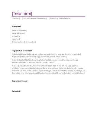 Elulookirjelduse kaaskiri (lilla)