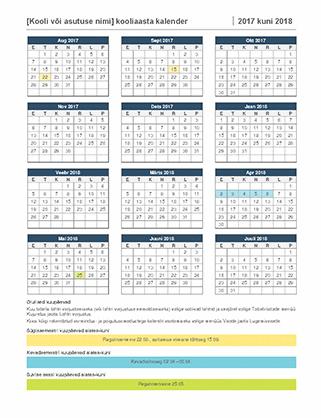 Kooliaasta kalender 2017–2018