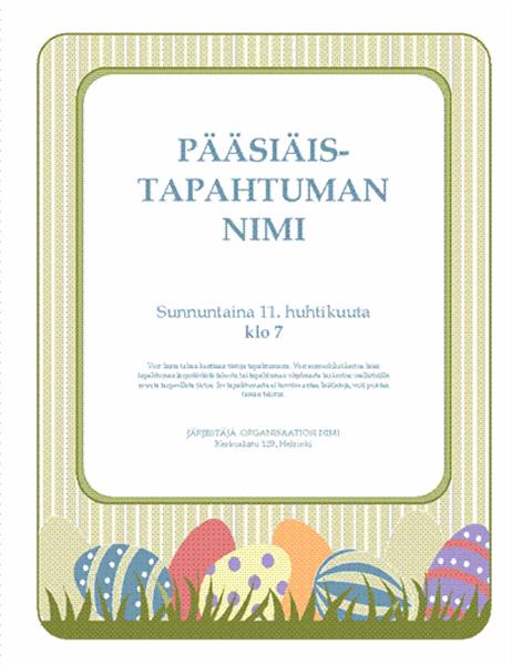 Pääsiäistapahtuman mainoslehtinen (pääsiäismunia)
