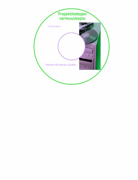 Varmuuskopio-CD-levyn tarrat