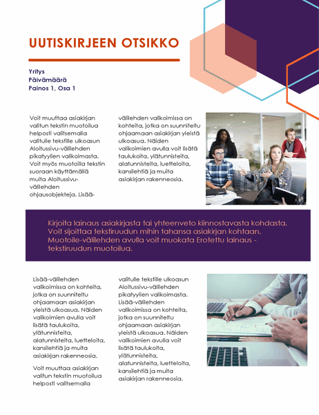 Uutiskirje (johtaja-aiheinen rakenne, 2 sivua)
