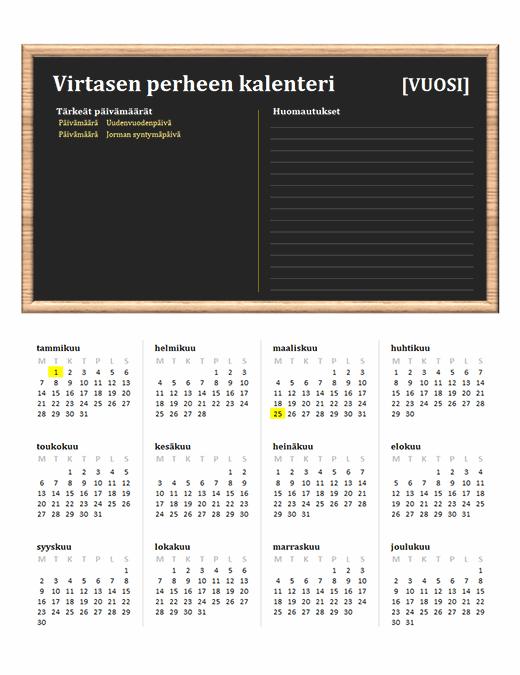 Perheen kalenteri (kaikki vuodet, ma–su)