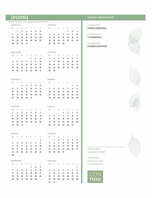 Pienyrityksen kalenteri (kaikki vuodet, ma–su)