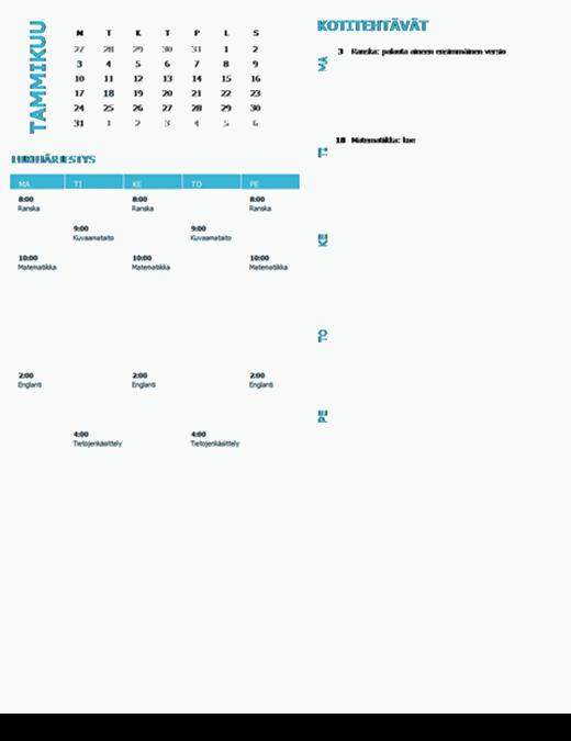 Opiskelijan viikkosuunnitelmakalenteri (vuosi, ma-su)