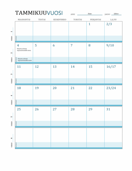 Tuntisuunnitelma-kalenteri