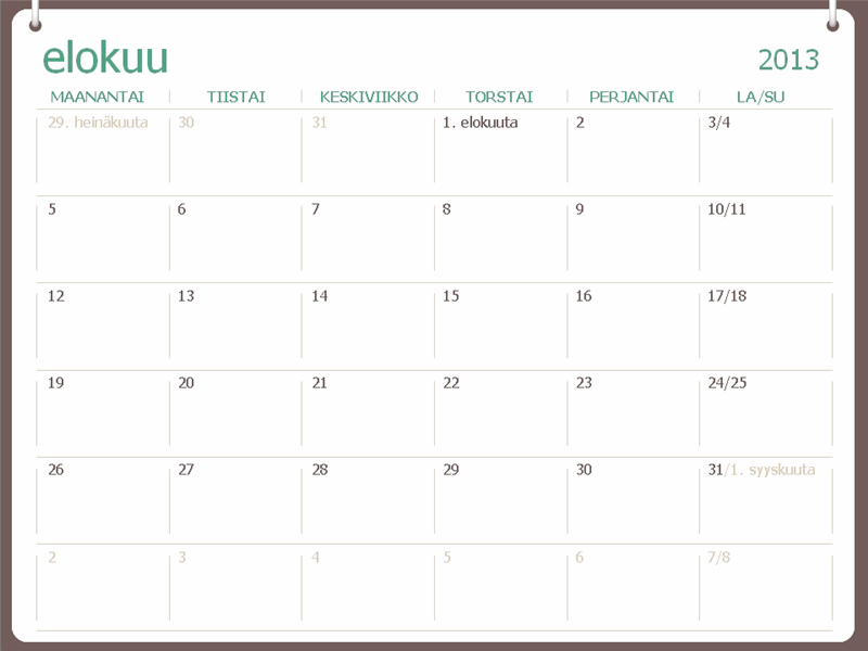 Lukuvuosikalenteri 2013–2014 (elokuu)