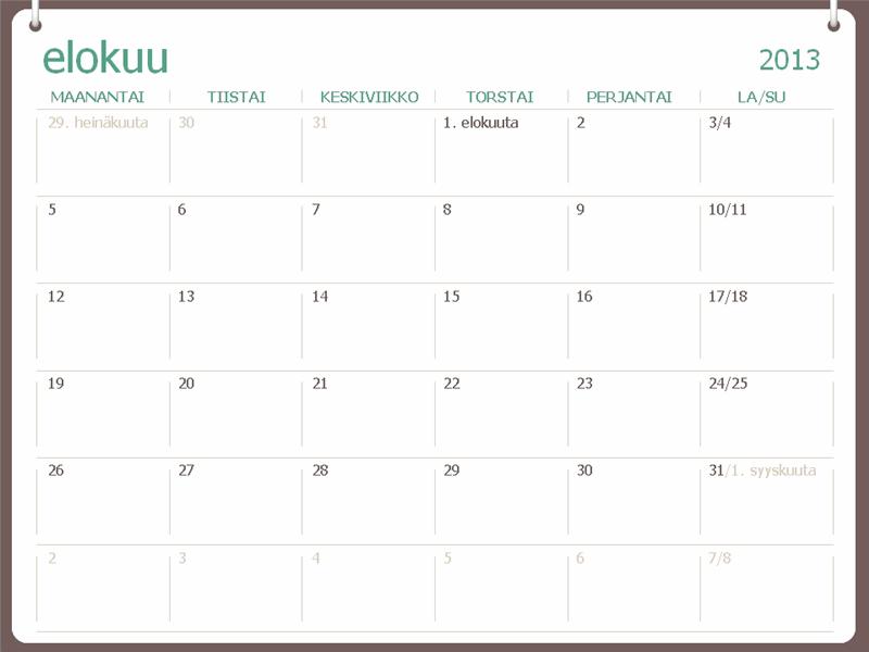 Lukuvuosikalenteri 2013–2014 (heinäkuu)