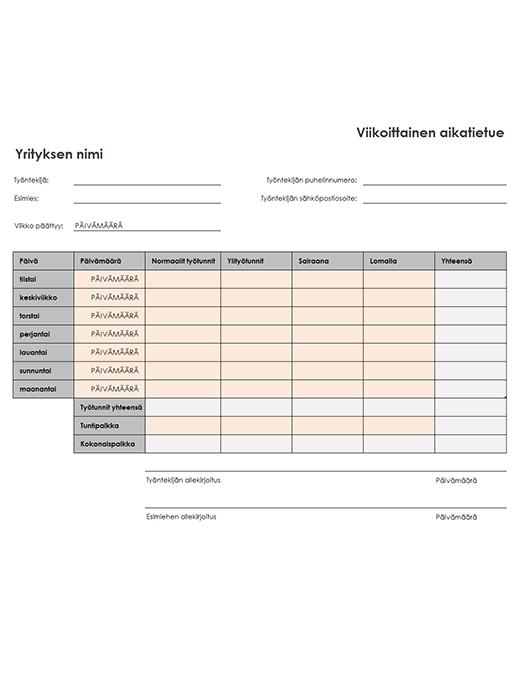 Viikoittainen työaikaraportti (8 1/2 x 11, pysty)