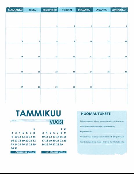 Lukuvuosikalenteri (yksi kuukausi, mikä tahansa vuosi, aloitus maanantaista)