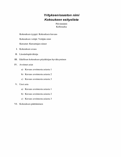 Muodollinen kokouksen esityslista