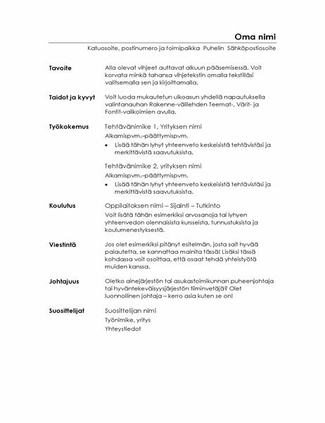 Toimiva ansioluettelo (minimalistinen rakenne)