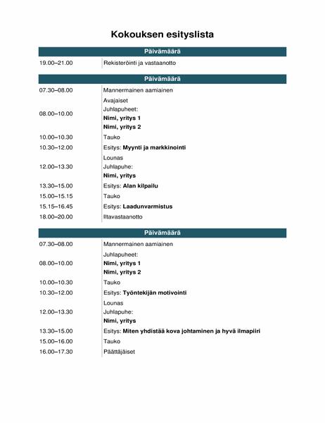 Konferenssin tapahtumien esityslista