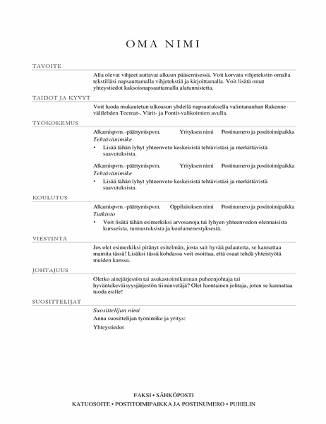Myyntipäällikön ansioluettelo (hienostunut)