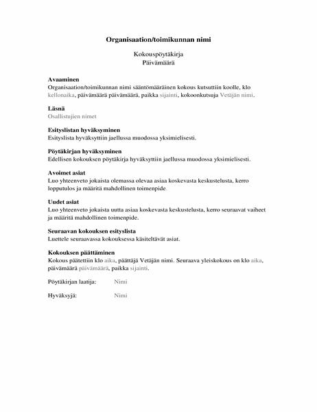 Organisaation kokouksen pöytäkirja (kattava lomake)